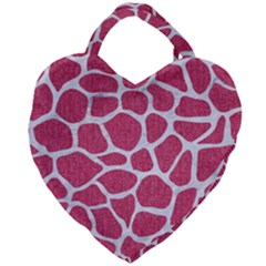 SKIN1 WHITE MARBLE & PINK DENIM (R) Giant Heart Shaped Tote