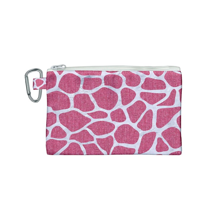 SKIN1 WHITE MARBLE & PINK DENIM (R) Canvas Cosmetic Bag (Small)