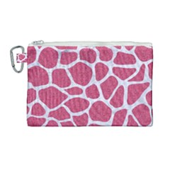 Skin1 White Marble & Pink Denim (r) Canvas Cosmetic Bag (large)