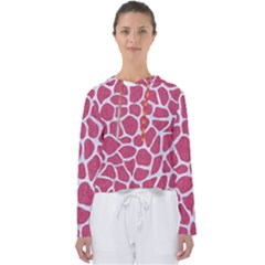 Skin1 White Marble & Pink Denim (r) Women s Slouchy Sweat