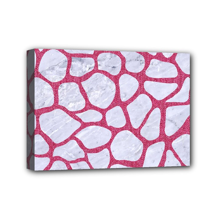 SKIN1 WHITE MARBLE & PINK DENIM Mini Canvas 7  x 5