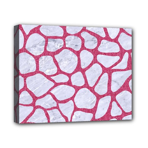 Skin1 White Marble & Pink Denim Canvas 10  X 8