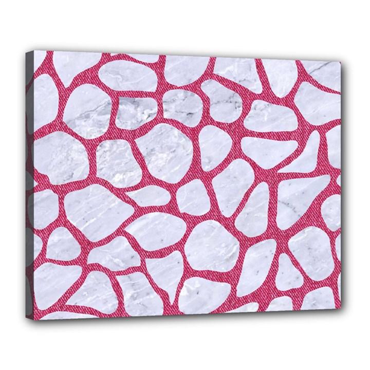 SKIN1 WHITE MARBLE & PINK DENIM Canvas 20  x 16