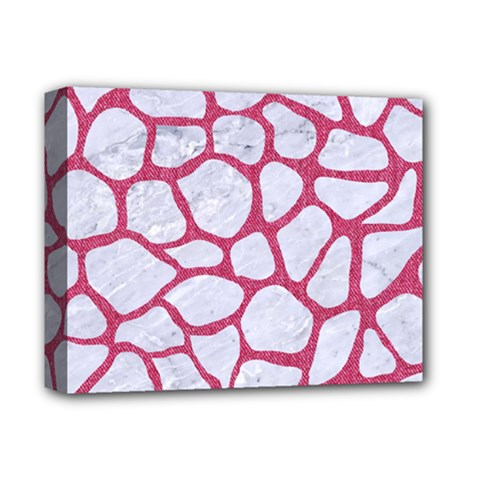 Skin1 White Marble & Pink Denim Deluxe Canvas 14  X 11