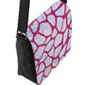 SKIN1 WHITE MARBLE & PINK DENIM Flap Messenger Bag (L)  View2