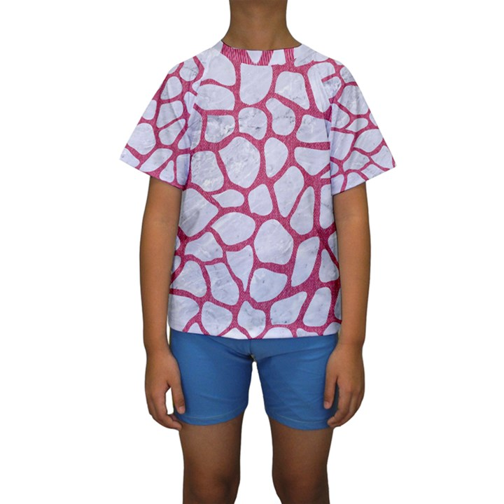 SKIN1 WHITE MARBLE & PINK DENIM Kids  Short Sleeve Swimwear