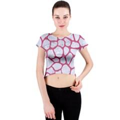 Skin1 White Marble & Pink Denim Crew Neck Crop Top