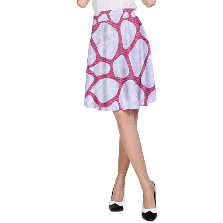 SKIN1 WHITE MARBLE & PINK DENIM A-Line Skirt