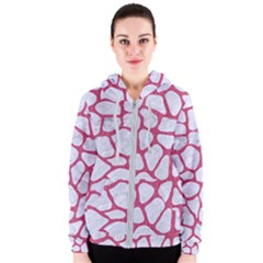 Skin1 White Marble & Pink Denim Women s Zipper Hoodie