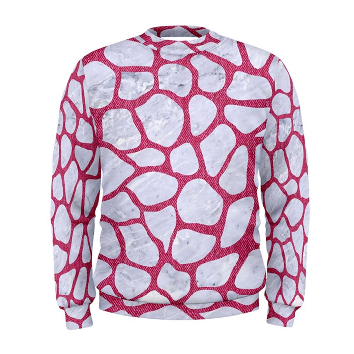 SKIN1 WHITE MARBLE & PINK DENIM Men s Sweatshirt