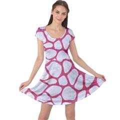 Skin1 White Marble & Pink Denim Cap Sleeve Dress