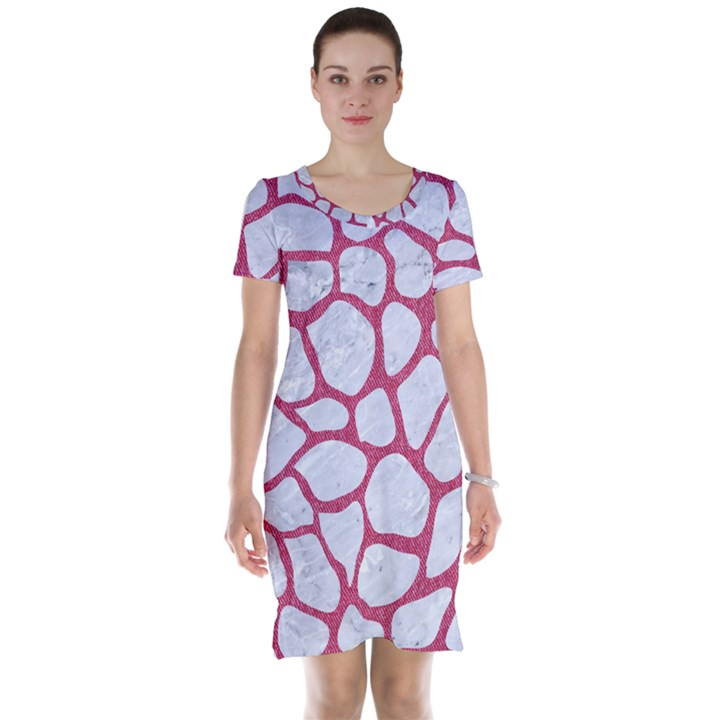 SKIN1 WHITE MARBLE & PINK DENIM Short Sleeve Nightdress