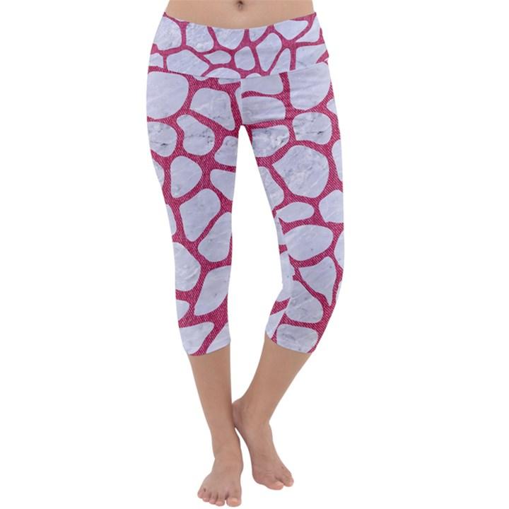 SKIN1 WHITE MARBLE & PINK DENIM Capri Yoga Leggings