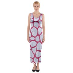 Skin1 White Marble & Pink Denim Fitted Maxi Dress
