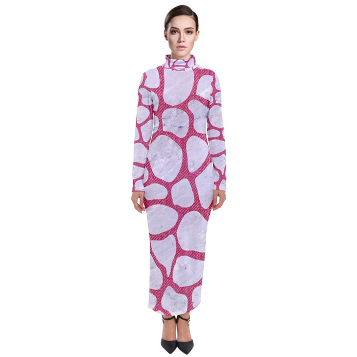SKIN1 WHITE MARBLE & PINK DENIM Turtleneck Maxi Dress