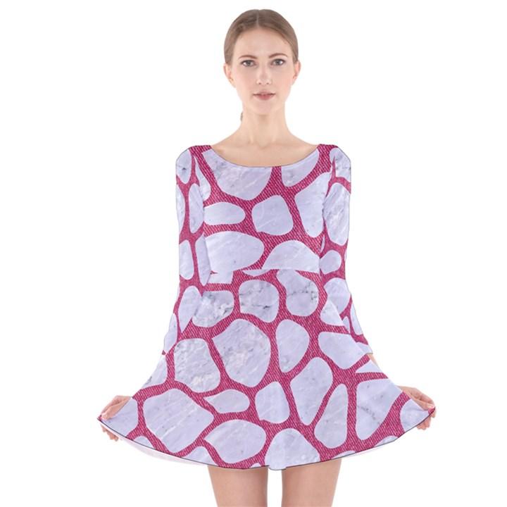 SKIN1 WHITE MARBLE & PINK DENIM Long Sleeve Velvet Skater Dress