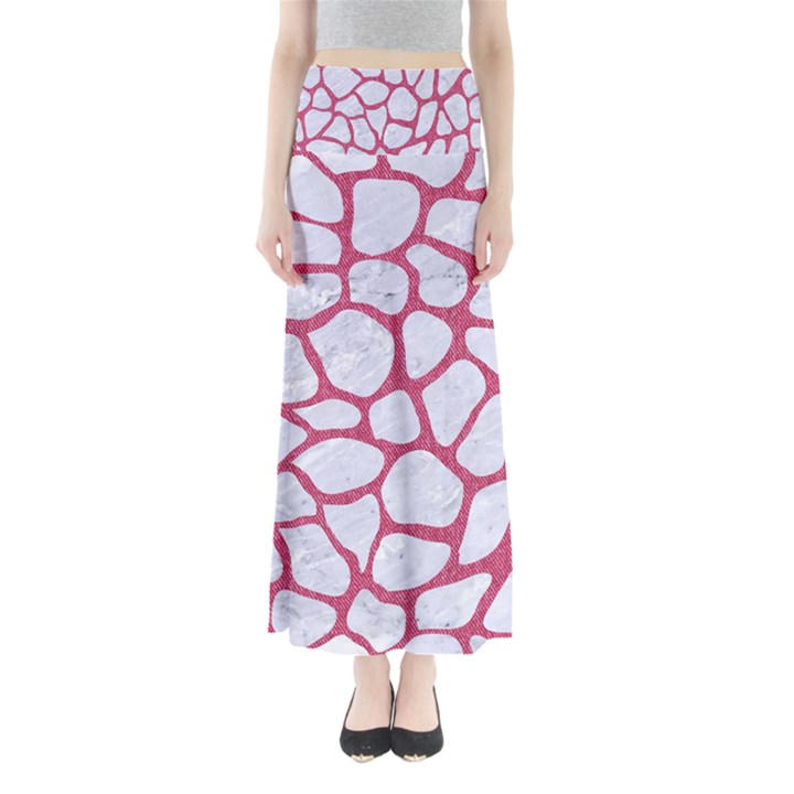 SKIN1 WHITE MARBLE & PINK DENIM Full Length Maxi Skirt