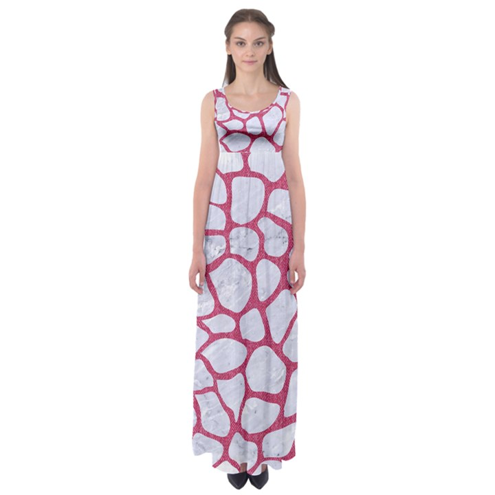 SKIN1 WHITE MARBLE & PINK DENIM Empire Waist Maxi Dress