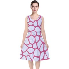 Skin1 White Marble & Pink Denim V Neck Midi Sleeveless Dress