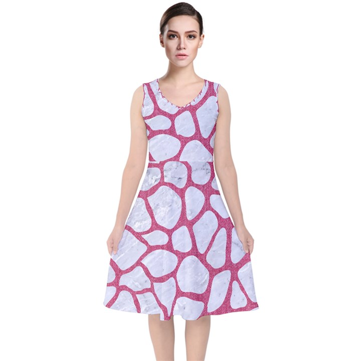SKIN1 WHITE MARBLE & PINK DENIM V-Neck Midi Sleeveless Dress