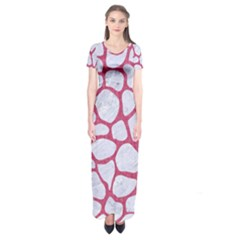 Skin1 White Marble & Pink Denim Short Sleeve Maxi Dress