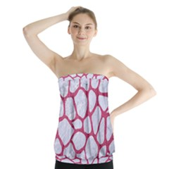 Skin1 White Marble & Pink Denim Strapless Top