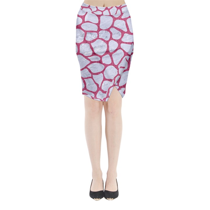 SKIN1 WHITE MARBLE & PINK DENIM Midi Wrap Pencil Skirt