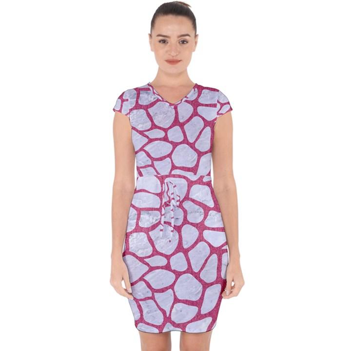 SKIN1 WHITE MARBLE & PINK DENIM Capsleeve Drawstring Dress