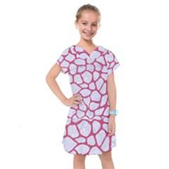 Skin1 White Marble & Pink Denim Kids  Drop Waist Dress