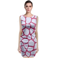 Skin1 White Marble & Pink Denim Sleeveless Velvet Midi Dress