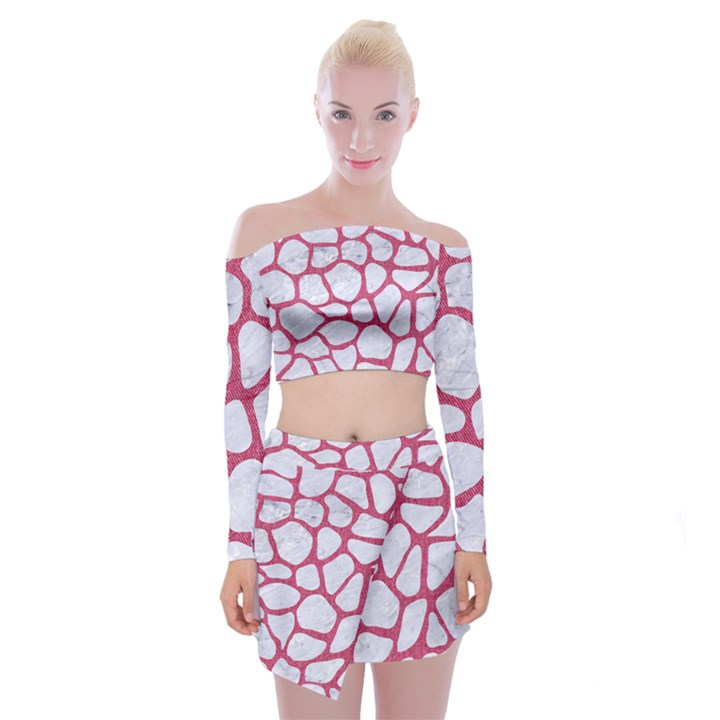 SKIN1 WHITE MARBLE & PINK DENIM Off Shoulder Top with Mini Skirt Set