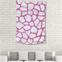 SKIN1 WHITE MARBLE & PINK DENIM Small Tapestry View2
