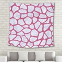 SKIN1 WHITE MARBLE & PINK DENIM Square Tapestry (Large) View2