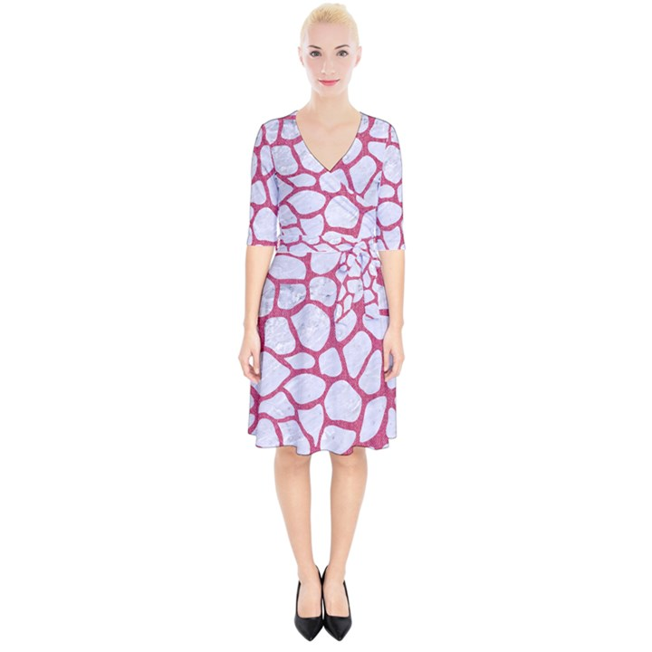 SKIN1 WHITE MARBLE & PINK DENIM Wrap Up Cocktail Dress