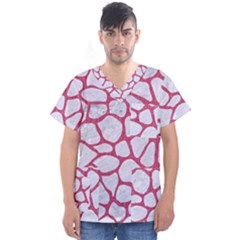 Skin1 White Marble & Pink Denim Men s V Neck Scrub Top