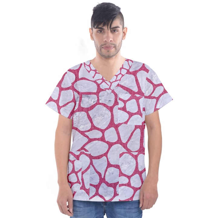 SKIN1 WHITE MARBLE & PINK DENIM Men s V-Neck Scrub Top