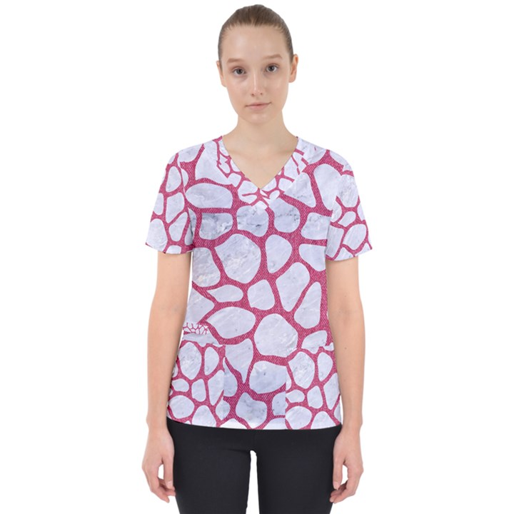 SKIN1 WHITE MARBLE & PINK DENIM Scrub Top