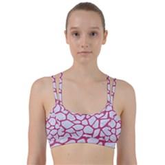 Skin1 White Marble & Pink Denim Line Them Up Sports Bra