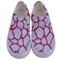 SKIN1 WHITE MARBLE & PINK DENIM Kids  Canvas Slip Ons View1