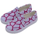 SKIN1 WHITE MARBLE & PINK DENIM Kids  Canvas Slip Ons View2