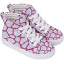 SKIN1 WHITE MARBLE & PINK DENIM Kid s Hi-Top Skate Sneakers View3