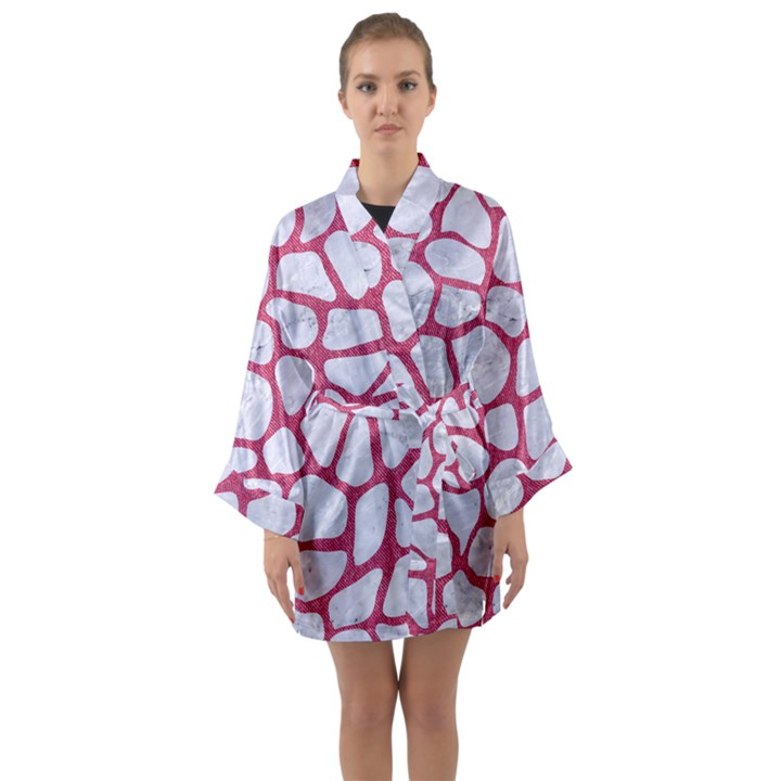 SKIN1 WHITE MARBLE & PINK DENIM Long Sleeve Kimono Robe