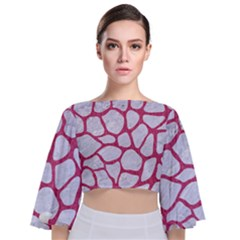 Skin1 White Marble & Pink Denim Tie Back Butterfly Sleeve Chiffon Top