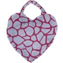 SKIN1 WHITE MARBLE & PINK DENIM Giant Heart Shaped Tote View1