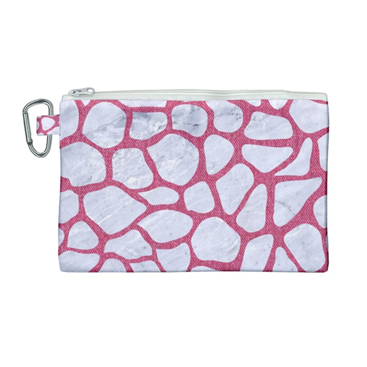 SKIN1 WHITE MARBLE & PINK DENIM Canvas Cosmetic Bag (Large)