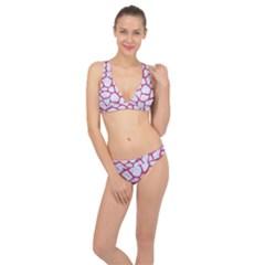 Skin1 White Marble & Pink Denim Classic Banded Bikini Set