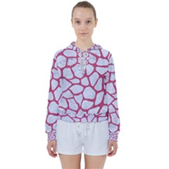 Skin1 White Marble & Pink Denim Women s Tie Up Sweat