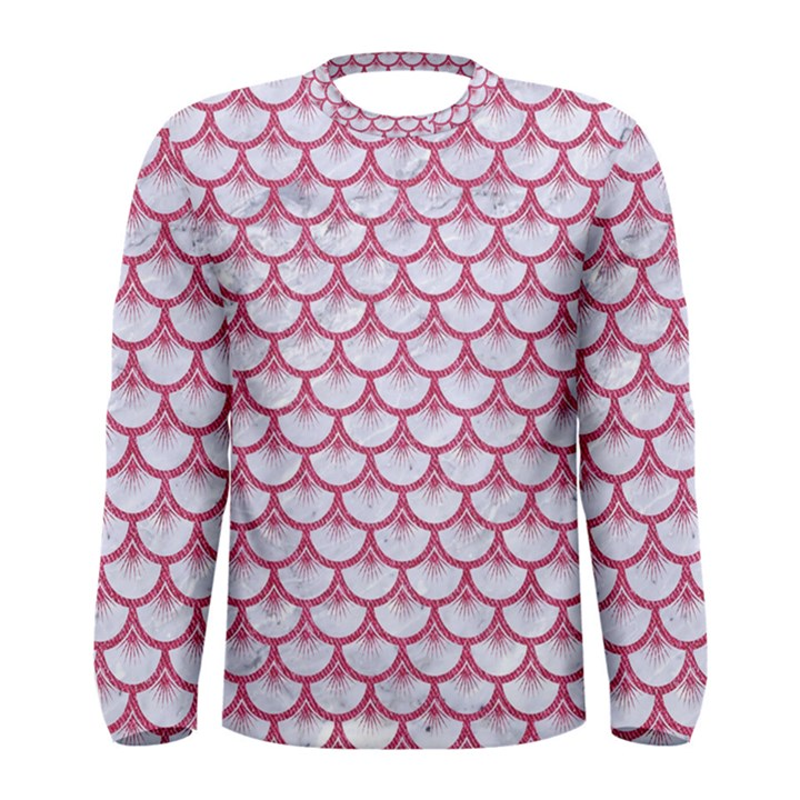 SCALES3 WHITE MARBLE & PINK DENIM (R) Men s Long Sleeve Tee