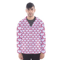 Scales3 White Marble & Pink Denim (r) Hooded Windbreaker (men)