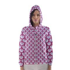Scales3 White Marble & Pink Denim (r) Hooded Windbreaker (women)